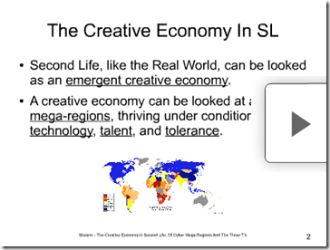 the creative economy in sl slide screen shot