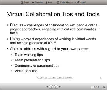 virtual collaboration and tools slide screenshot