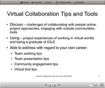 virtual collaboration and tools slide screenshot
